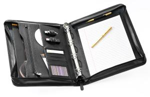 A4 Leather Zipped Conference Folder with Ringbinder