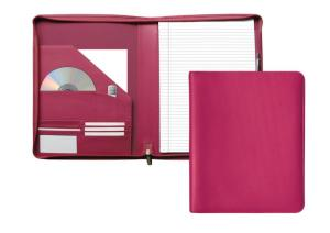 A4 Zipped Malvern Conference Folder in Pink Leather.
