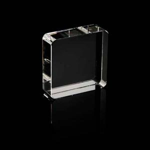 Square Crystal Paperweight with Rounded Corners
