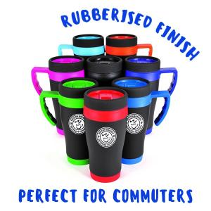 Rubberised Finish Travel Mug
